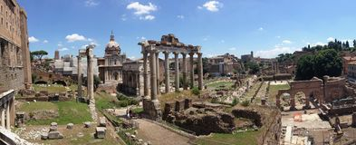 Panorama de Roman Forum - a Roma, Itália Imagem de Stock Royalty Free