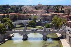 Panorama de Rome de Sant Angelo Castel photographie stock