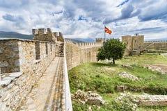 Panorama de ruínas velhas do castelo, Ohrid, Macedônia Imagens de Stock