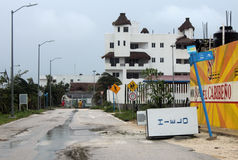 Panorama de rue dans l'ouragan Ernesto de Mahahual Images stock