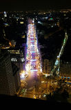 Panorama de rue de nuit de Madrid Photos libres de droits