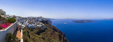 Panorama de Santorini - Grèce Photos stock