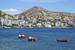 Panorama de Saranda, Albânia fotos de stock royalty free