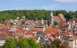 Panorama de Schwäbisch Salão, Alemanha Fotografia de Stock