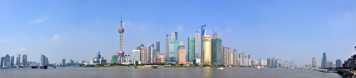 Panorama de Shanghai Pudong, China Foto de Stock Royalty Free