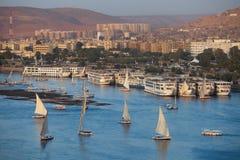 Panorama de soirée d'Aswan photographie stock