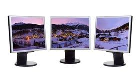 Panorama de Solden Austria de la estación de esquí de las montañas en pantallas de ordenador Foto de archivo libre de regalías