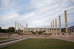 Panorama de stade en parc olympique à Barcelone, Espagne image libre de droits