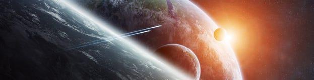 Panorama de système éloigné de planète dans des éléments de rendu de l'espace 3D illustration stock