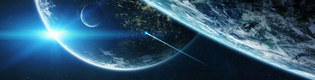 Panorama de système éloigné de planète dans des éléments de rendu de l'espace 3D Photographie stock