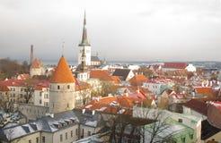 Panorama de Tallinn velho Castelo histórico Tallinn Estónia Fotos de Stock