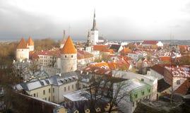 Panorama de Tallinn velho A vista da parte superior Tallinn Estónia Imagens de Stock Royalty Free