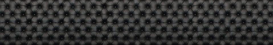 panorama de texture en cuir noire élégante avec des boutons pour le patte Photos libres de droits