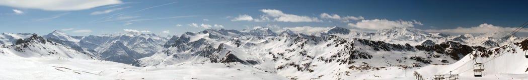 Panorama de Tignes da estância de esqui Imagem de Stock