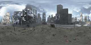 Panorama de Time Square arruinado Nueva York Manhattan HDRi Equirectangular representación 3d ilustración del vector