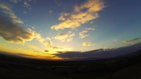 Panorama de timelapse de coucher du soleil banque de vidéos