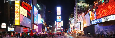 Panorama de Times Square de New York City Photo libre de droits