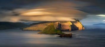 Panorama de Tindholmur Fotos de Stock Royalty Free