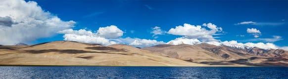 Panorama de Tso Moriri nos Himalayas, Ladakh do lago Imagem de Stock