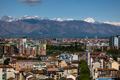 Panorama de Turin, Italie Photos stock