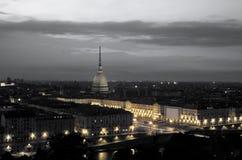 Panorama de Turin Taupe Antonelliana B&W Image stock