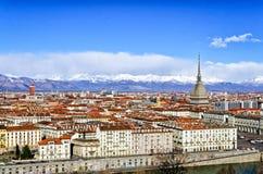 Panorama de Turin (Torino) avec la taupe Antonelliana Photographie stock