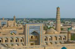 Panorama de uma cidade antiga de Khiva, Uzbekistan Foto de Stock Royalty Free