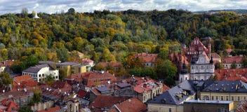Panorama de uma estação do outono de Vilnius Fotos de Stock Royalty Free