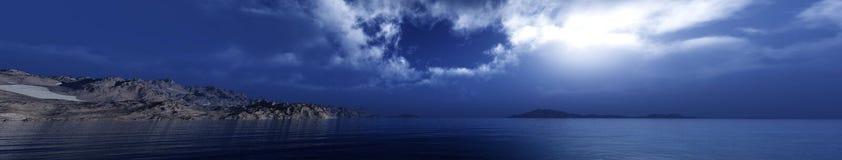 Panorama de un sunse del mar, paisaje ttropical fotos de archivo