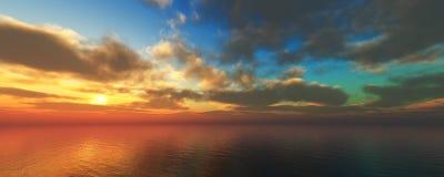 Panorama de un sunse del mar, paisaje ttropical fotografía de archivo libre de regalías