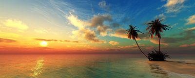 Panorama de un sunse del mar, paisaje ttropical imagen de archivo