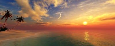 Panorama de un sunse del mar, paisaje ttropical fotos de archivo libres de regalías