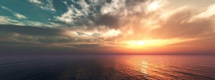 Panorama de un sunse del mar, paisaje ttropical foto de archivo libre de regalías