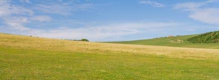 Panorama de un valle verde del campo inglés Fotos de archivo libres de regalías