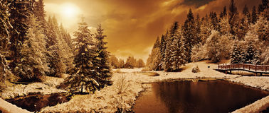 Panorama de una mañana del invierno en los Cárpatos Fotografía de archivo libre de regalías