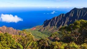 Panorama de vallée de Kalalau Images libres de droits