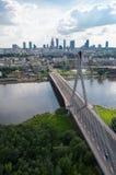 Panorama de Varsovie, pont de ?wi?tokrzyski Photographie stock libre de droits