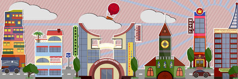 Panorama de vecteur de ville, fond de ville Illustration à la mode plate de métropole Photo stock