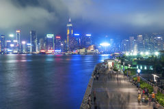 Panorama de Victoria Harbor de ville de Hong Kong Photographie stock libre de droits