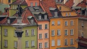 Panorama de vieille ville à Varsovie la capitale de la Pologne banque de vidéos