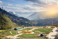 Panorama de Vietname do vale do sapa da vista bonita no nascer do sol da manhã com nuvem da beleza imagens de stock royalty free