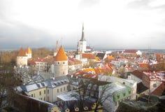 Panorama de vieux Tallinn La vue à partir du dessus tallinn l'Estonie Images libres de droits