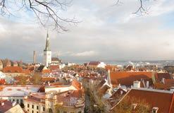 Panorama de vieux Tallinn La vue à partir du dessus tallinn l'Estonie Photos stock