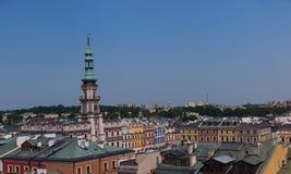 Panorama de vieux Zamosc, Pologne Images libres de droits