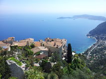 Panorama de village d'Eze Images stock
