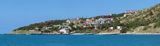 Panorama de village Katsiveli avec le radiotelescope Images libres de droits