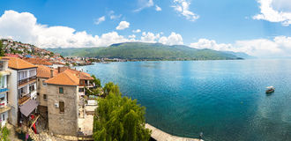 Panorama de ville d'Ohrid Photographie stock