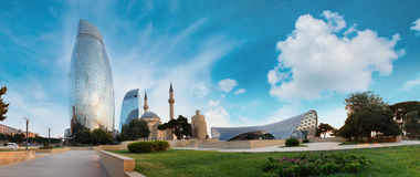 Panorama de ville de Bakou, Azerbaïdjan Image libre de droits
