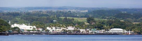 Panorama de ville de Hilo Images libres de droits