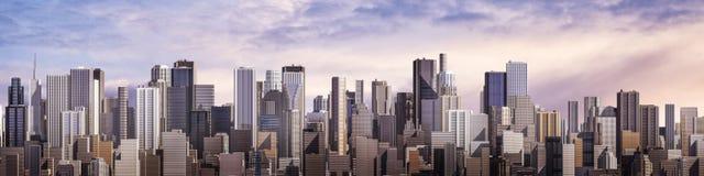 Panorama de ville de jour Photographie stock libre de droits